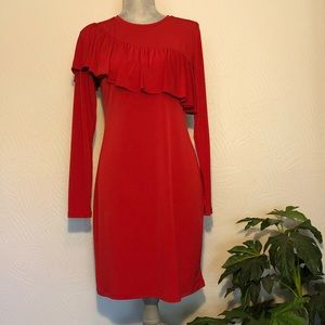 Michael Kors ruffle red dress with sleeves